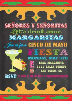 Chalkboard Mexican Fiesta Cinco de Mayo Party Invitation
