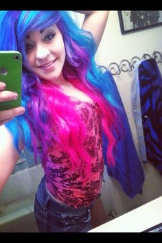 blue, purple, and pink hair