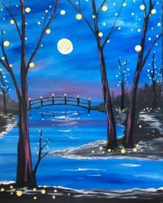 Bridge over water and starry night beginner painting idea.