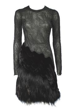 Bergdorf Goodman's Anniversary Collection J. Mendel's beaded silk chiffon dress with dyed mink and raccoon fur-skirt.    The Ultimate Holiday Dress
