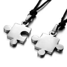 Men, Women's 2PCS Stainless Steel Pendant Necklace Silver Jigsaw Puzzle Love Valentine's Couples His & Hers Set Adjustable 20~22 Inch Chain: Boyfriend And Girlfriend Stuff Jewelry