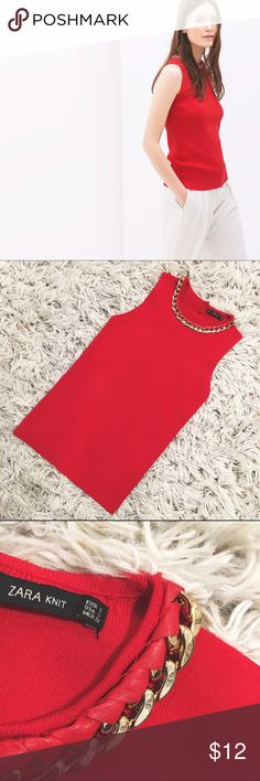 ❣️ Zara Knit Red Chain Top ❣️ A fierce way to walk into a room! Zara dows EXACTLY that with this top! Featuring a gold chain (attached to the garment) this top is shoe-in of a winner with your girlies! Happy Poshing!   📫 Same/Next Day Shipping 🏡 Odor Free 🐩 Pet Free 🚫 PayPal/Trades Zara Tops