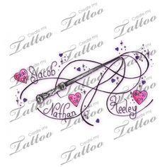 Tattoo with children's names | kids names #31228 | CreateMyTattoo.com