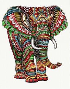 Grand panneau décoratif en tissage jacquard Elephant - dimensions 140 cm x 185 cm Elephant Artwork, Elephant Quilt, Giraffe Art, Mandala Art, Mandala Drawing, African Art Paintings, Animal Paintings, Paintings Of Elephants, Elephant Colour