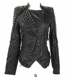 Amazon.com: Womens Punk Spike Studded Shoulder Leather Jacket Coat Motorcycle Jacket: Clothing