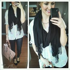 scarf pastel leather leggings flats black