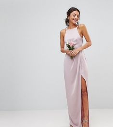 ASOS TALL WEDDING Drape Front Strappy Back Maxi Dress - Pink