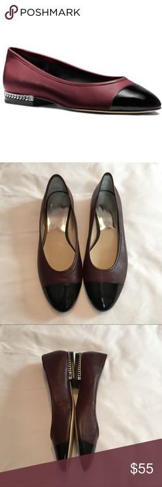 Michael Kors Sabrina Flats Burgundy leather flats with a patent black cap toe and a chain link accent on the heels. So stunning, perfect for work or a night out. Gently worn, no flaws! Size 11. Michael Kors Shoes Flats & Loafers