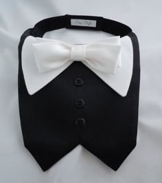 Jessie, my dog, will look so dapper in this! -Mari...TUX collar bib for Small Dogs by DogStyle on Etsy, $20.00