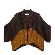 Silk and Wool Kimono | Hand dyed Dark Chocolate and rust Kimono Jacket  | One of a Kind | Original by Dikla Levsky  | Ready to ship