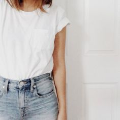 plain white tee and jeans