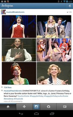 More Sutton Foster. I'd have to go with either Jo, Reno, or Inga... Or Fiona... I can't pick just one!