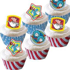 Are you having a Dr. Seuss party? They will love these. 48 toppers features 3 designs. 48 Standard Size Baking Cups 24 Red & White Stripe 24 Blue with White Polka Dot