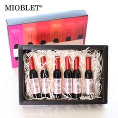 6Pcs/set Red Wine Shape Lip Gloss Waterproof Moisturizer Matte Lipgloss Lip Tint Liquid Lipstick Makeup Cosmetics With Gift Wrap