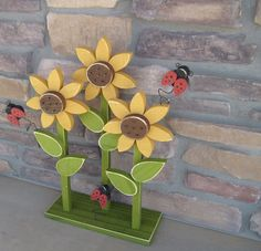 TRIPLE SUNFLOWER on stand with LADYBUGS for home decor, porch, Summer, Autumn and Fall decor. $29.95, via Etsy.