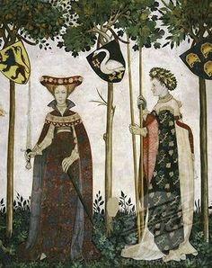 SuperStock - 14th century International Gothic fresco showing medieval costumes