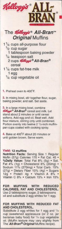 Kellogg's All-Bran Original Muffin recipe from a box of cereal. I love these thing's :-) ** They are good with 1-2 handful's of Craisins or raisins & about a 1/2-1 cup of chopped walnuts added also. (healthy deserts fast)