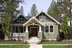 LOVE the floor plan...would alter the exterior style a bit to make more rustic and wrap around porch