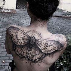 Full Back Butterfly Tattoo by Kamil Mokot