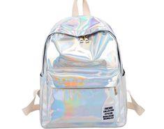 Hot Offer Women Laser Hologram PVC Backpacks Girls Shoulder School Backpack  Female Small Leather Holographic Travel c77eb4ba07a87
