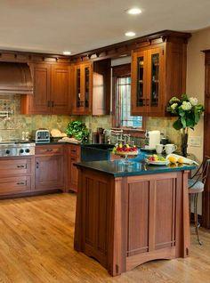 Arts & Crafts Kitchen with Ellsworth Door - craftsman - kitchen - new york - Crown Point Cabinetry Craftsman Style Kitchens, Home Kitchens, Craftsman Homes, Craftsman Bungalows, Bungalow Kitchen, Mission Style Kitchens, Modern Craftsman, Kitchen Redo, Kitchen Cabinets