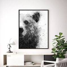 This black and white painting illustrates an adorable half-face panda in a watercolor technique. Its semi-gloss style truthfully portrays the fluffy and fuzzy appearance of this delicate animal.Pandas fluffiness is achieved through abstract forms in a hi Bear Watercolor, Watercolor Paintings Abstract, Painting Prints, Wall Art Prints, Watercolor Animals, Abstract Art, Black And White Wall Art, Black And White Painting, Black And White Abstract