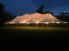 44 x 103 Sailcloth Tent illuminated with bistro lights #sailcothtent @bistrolights