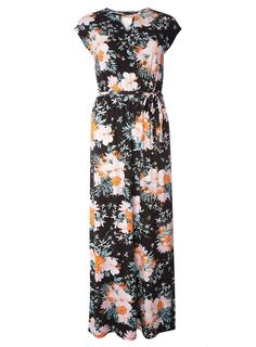 Black Graphic Floral Print Jersey Maxi Dress - Dresses - Clothing - Dorothy Perkins United States