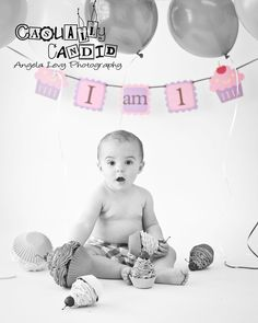 Cupcake birthday banner  I AM 1 banner by CreativePartyBanners, $15.00