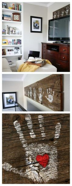 I have a simple last minute gift idea that you can make for Grandma or Mom (or both) for Mothers Daya DIY Handprint Wall Sign! This is one of the easiest projects and take just a few minutes to create. Barn Wood Crafts, Crate Crafts, Handprint Art, Ideas Geniales, Fathers Day Crafts, Mom Day, Simple Gifts, Grandma Gifts, Wall Signs