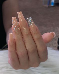 Acrylic Nails Coffin : Nail inspo There are about 15 coffin shape peach nails styles for you, If you love peach nails style, and you love coffin nails design too Bling Acrylic Nails, Acrylic Nails Coffin Short, Summer Acrylic Nails, Best Acrylic Nails, Coffin Nails, Summer Nails, Long Square Acrylic Nails, Bling Nail Art, Long Square Nails
