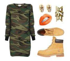 STYLE INSPIRATION  The best look to put together with your Timberland Yellow Boots is 'army'. This will create a boyish yet sexy look!  Get the look! Timberland Yellow Boots is available at Mezzo