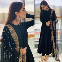 Black georgette beautiful partywear anarkali suit is part of Indian dresses - Fabric Georget suit ( length 53 )Semi stich upto silk bottom ( unstitch )Net dupatta with heavy embroidery work Pakistani Dresses Casual, Indian Gowns Dresses, Pakistani Dress Design, Pakistani Bridal, Pakistani Party Wear, Pakistani Fashion Casual, Punjabi Fashion, Indian Party Wear, Flapper Dresses
