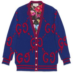 Guccighost Wool Cardigan ($2,980) ❤ liked on Polyvore featuring tops, cardigans, blue, oversized cardigan, wool tops, gucci cardigan, wool cardigan and v-neck tops