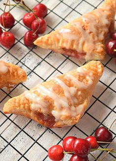 Easiest ever cherry turnovers{with puff pastry} makes them so amazing,with vanilla glaze! You wont believe these cherry turnovers are store bought or homemade they are that good! Puff Pastry Desserts, Frozen Puff Pastry, Puff Pastry Recipes, Pastries Recipes, Puff Pastry Ingredients, Cherry Turnovers, Homemade Cherry Pies, Pepperidge Farm Puff Pastry, Turnover Recipes