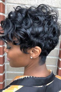 Curly Pixie Weave ❤️ If you are looking for the trendiest weave hairstyles, you should read this p. Short Sassy Hair, Short Hair Cuts, Short Pixie, Curly Hair Styles, Natural Hair Styles, Black Hair Growth, Short Black Hairstyles, African American Short Hairstyles, Black Pixie Haircut