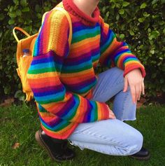 """mypasalacqua: """"my gay look from the other day 🌈🌟 ig: paolalien """" Mode Outfits, Retro Outfits, Fashion Outfits, Estilo Indie, Pride Outfit, Rainbow Aesthetic, Aesthetic Colors, Looks Chic, Indie Kids"""