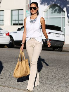Olivia  Munn looks gorgeous in Beverly Hills in her James Jeans Bella Perfect Fit and Flare jeans in Tahiti. Photo credit: Credit: T.Maidana/Splash News Online. Image courtesy of People.com