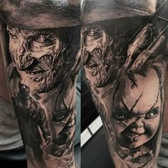 This Freddy Krueger is amazing! Horror Movie Tattoos, Scary Tattoos, Zombie Tattoos, Payasa Tattoo, Sick Tattoo, Leg Sleeve Tattoo, Best Sleeve Tattoos, Shoe Tattoos, Body Art Tattoos
