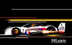 """HOME TEAM"" Yanick Dalmas - Peugeot 905 at Le Mans.  Original Art by MLewis"