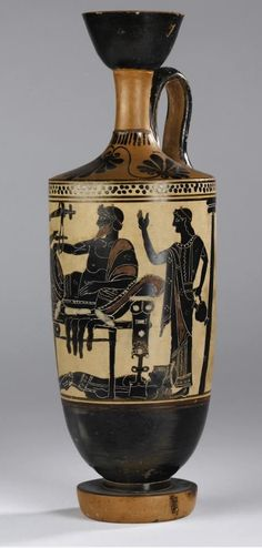 Lekythos of pottery decorated in black figure style on a white ground with a scene representing Achilles delivering up the body of Hector to Priam: Ancient Mediterranean, Ancient Greek, Attic, by the Edinburgh Painter, 5th century BC, c. 500 BC © National Museums Scotland.