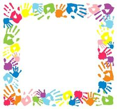 frame made from color handprints. Hand Art Kids, Art For Kids, Presentation Ideas For School, Hand Kunst, Boarder Designs, Diy And Crafts, Crafts For Kids, Kids Background, Background Powerpoint