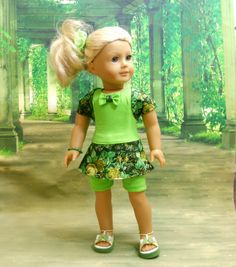 American Girl Doll and 18 Doll Clothes Green 5 PC by MegOrisDolls