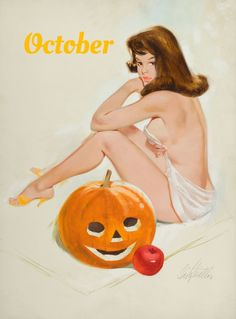 Fritz Willis (via Theme: Halloween Pin Up Witches – Pin Up Girls Gallery) Retro Halloween, Halloween Pin Up, Halloween Artwork, Pin Up Vintage, Vintage Style, Gil Elvgren, Pin Up Girls, October Art, Modern Pin Up