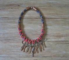 Neo tribal rope statement necklace in black and bronze by maslinda, $69.00