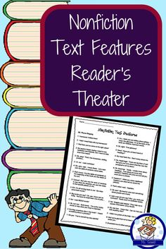 Do your students struggle remembering the difference between a caption and a bold word? The table of contents verse the index? This reader's theater helps students review these important features as well as their purpose in text.  The features focused on are: table of contents, index, glossary, captions, bold words, and graphs/charts.   It's written for 6 parts, but could easily be adapted for more by having two students read one part.