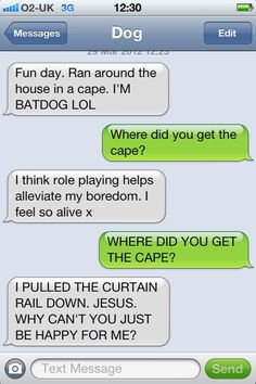 My dog, aka Isabel, would totally have this conversation with me via text...if she had thumbs with which she could type lol ;) She totally thinks she's Batdog!