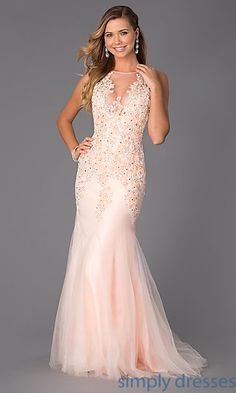 Floor Length Sleeveless Prom Dress with Lace