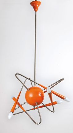 1960 - Space age ceiling light, enamel and chrome - (mid century modern, space era, atomic design)