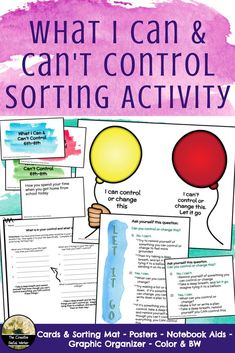 Love this what I can and can't control sorting and discussion activity for middle school students! Perfect for anxiety and stress Elementary School Counseling, School Social Work, School Counselor, Elementary Schools, High Schools, Social Skills Activities, Counseling Activities, Group Counseling, Leadership Activities